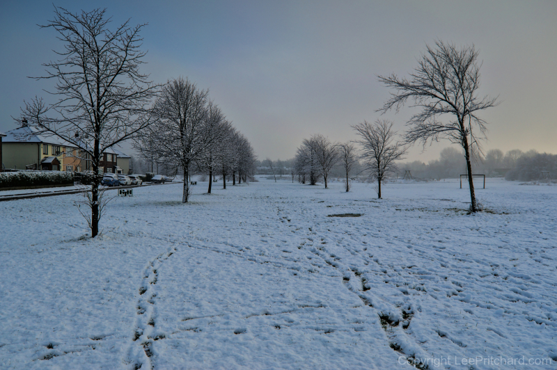 Snowy scene on Kingsway Park