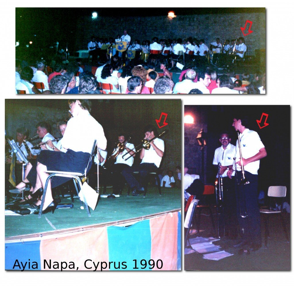 Playing in the Ashton on Mersey Showband in Ayia Napa 1990